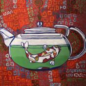 Koi in teapot #2, oil on canvas, 20x20, 2016