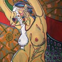 Reaching Nude in Red, Blue and Yellow, 36x36, oil on canvas, 2016