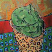 Ice Cream Cone, 20x20, oil on canvas, 2016